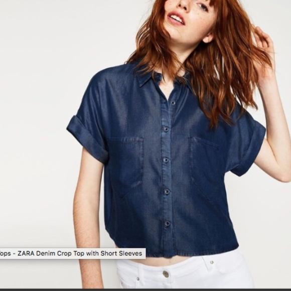 707053b6 Zara Tops | Basic Soft Cropped Denim Shirt Top Blouse | Poshmark